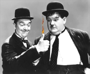 "Laurel and Hardy in a scene from ""Way Out West."""